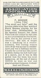 1938 W.A.& A.C Churchman #3 F. Broome Back
