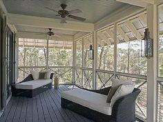 FL lake house inspired by Something's Gotta Give beach house. From Hooked on Houses. Sleeping porch...must have!