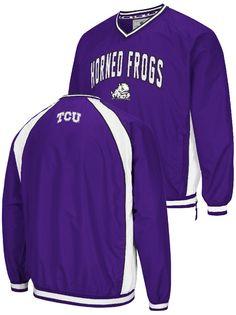 87d5bdf889992 NCAA TCU Horned Frogs Mens Purple Embroidered Fair Catch V Neck Pullover  Jacket  49.95 Fan Gear