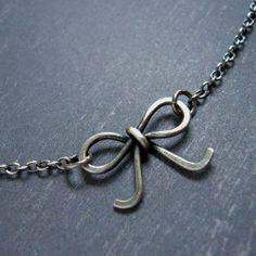 Bow  Oxidized Sterling Silver Necklace by VinLace on Etsy, $20.00