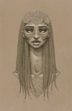 Sun Goddess Nyambi - [Nyam-bee] The sky goddess who inhabits the sun for the Barotse [or Lozi] people from western Zambia. She wears 3 sun disks oh her head and face paint along her cheeks as representations of the sun setting in the horizon at dusk.  Nyambi is carla susan blair raffaele's two hundredth and third incarnation on heaven; sun goddess and protector of children