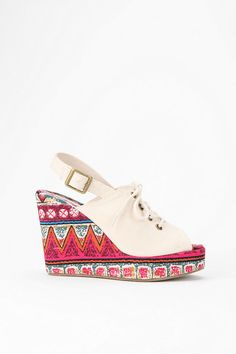 Patterned Peep-Toe Wedge #urbanoutfitters