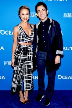 Becca Tobin and Kevin McHale arrive at the 3rd Annual Nautica Oceana Beach House Party at the Marion Davies Guest House on May 8, 2015 in Santa Monica, California.