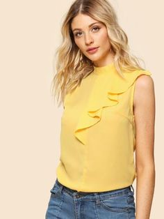 f2df9b7b40a Buy Yellow Mock Neck Sleeveless Ruffle Top for Women at Fashiontage.