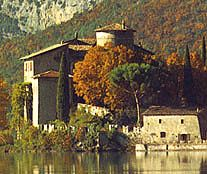 Castle Toblino near Trento, Italy in the Northern Italian Dolomite mountains and wine valleys
