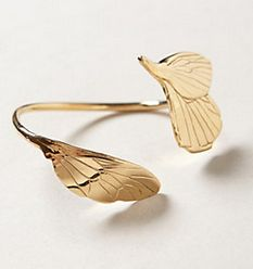 Anthropologie Papillon Bracelet Inspired by everyday loveliness and fleeting moments of beauty, Manhattan-based sculptor and jewelry designer linanoel creates whimsical pieces that reflect the natural world's precise asymmetry. This ethereal butterfly-wing cuff was crafted using a technique known as lost wax casting, which leaves behind traces of the artist's hand among the intricate carvings. #Anthropologie #Fashion #Bracelet #Jewelry