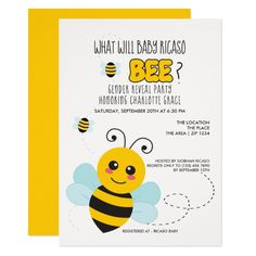 Cute Gender Reveal What Will Baby Bee Baby Shower Card Customizable Invitations #beach #summer #wedding #invitation
