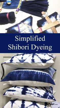 Simplified Shibori Dyeing - Made By Barb 4 simple patterns to make some pillows - My apologies; I have been so busy engulfed in my new art form; The idea cam - Fabric Dyeing Techniques, Tie Dye Techniques, Shibori Fabric, Shibori Tie Dye, Dyeing Fabric, How To Tie Dye, How To Dye Fabric, Tie Dye Crafts, Ideias Diy