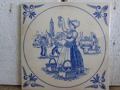 Vintage Holland America Line Delft like Tile/Trivet, Very Old Holland America Line Delft Style Tile, Vintage Tiles, Holland America Line by OpenTwentyFourSeven on Etsy