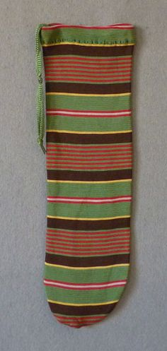 Gentleman's knitted striped silk purse, early 19th C.