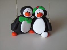 Clay Penguin Christmas Ornament - Couple Expecting