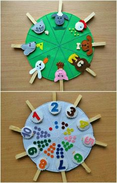 Double sided felt educational toys, matching number busy bag, animals and their food, preschool learning, clothespins game Doubles faces jouets éducatifs feutres correspondance numéro This toy is for children over 2 years. Made of felt in the form of bi Toddler Learning Activities, Montessori Activities, Preschool Activities, Kids Learning, Montessori Toddler, Montessori Bedroom, Learning Games, Montessori Education, Toddler Toys