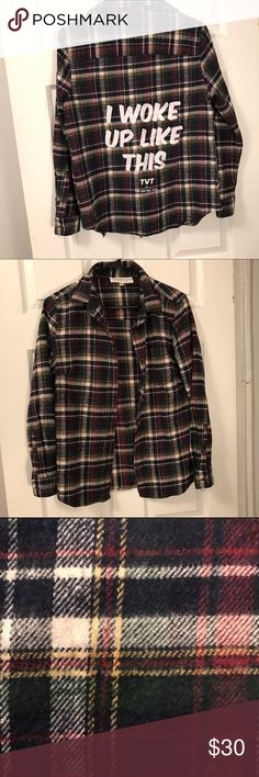 ✨I WOKE UP LIKE THIS✨ ✨Cute warm flannel for sale. In great condition👍🏻 Tops Button Down Shirts