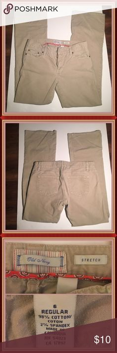"""Old Navy Tan Cords Tan cords from Old Navy. Good condition. Legs measure 38"""" long/Waist is 16"""" across/Inseam is 30"""" long/Hip is 18"""" across/Flare is 9"""". Old Navy Jeans"""