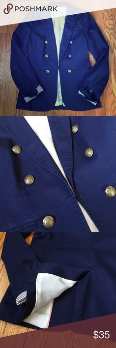 "Banana Republic Military Blazer Banana Republic Military Blazer Color: Navy Blue Size: 2 petite  Bust: 17"" Waist: 16""  Detailed buttons, BR monogram and pinstripe lining, faux front pockets, back slit detail Banana Republic Jackets & Coats Blazers"