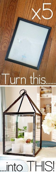 I have seen these a few places on Pinterest and the idea is genius – turn picture frames into Hurricane Lanterns – Why didn't I think of that? More Dollar Store Crafts and Hacks on Frugal Coupon Living.