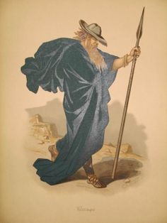 This painting shows Carl Emil Doepler's design for Wotan (Odin) & his spear for the 1st complete performance of Richard Wagner's RING OF THE...
