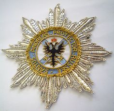 This is the order of St Andrew badge Military Ribbons, Jewel Star, The Royal School, War Medals, Grand Cross, Olympic Medals, Embroidered Badges, Military Insignia, Royal Brides