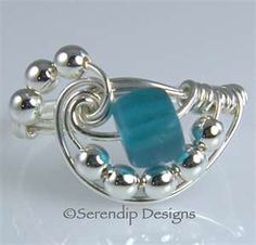 Sterling Silver Spiral Wrap Ring Teal Beach Glass in Your Size