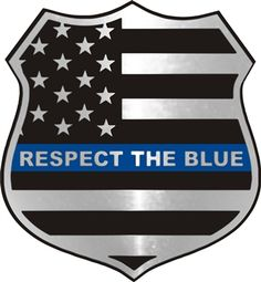Respect The Blue Thin Blue Line Metallic Shield Decal
