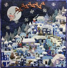 A very Merry Christmas Village by Paula Klingerman, technique by Karen Eckmeier at The Quilted Lizard