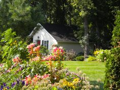 ✥ Storage Shed Takes On New Life.  An exuberant flower garden leads the eye toward a beautiful garden retreat. RMSer lross7577 says that 'Toad Cottage,' formerly a storage shed, underwent a total renovation, complete with a gas fireplace, bluestone patio and fire pit.