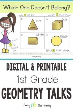 These first grade geometry math talk activities are common core aligned and are perfect for helping your first graders think critically about shapes. First Grade Classroom, First Grade Math, Math Lesson Plans, Math Lessons, Math Fact Fluency, Number Talks, Math Talk, Framed Words, First Grade Activities
