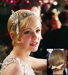 Vintage Hairstyles With Bangs Between Downton Abbey and The Great Gatsby the styles are hot, hot, hot. Come take a look at the effect it has had on Vintage Hair Accessories. 1920s Hair Short, Vintage Short Hair, Vintage Wedding Hair, Short Wedding Hair, 1920s Wedding, Party Wedding, Dress Wedding, Wedding Ideas, Great Gatsby Hairstyles