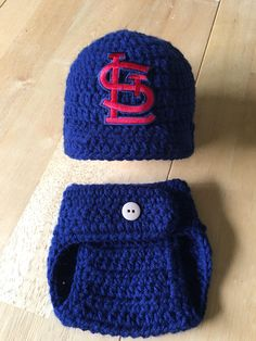 801722eabb0 Cardinals (St. Louis) Boy Red and Navy Baby Boy Crochet Knit Newborn Hat  and Diaper Cover Baseball Outfit Photo Prop Baby Shower Gift