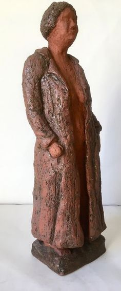 TERRACOTTA STATUE OF A NUDE WOMAN IN A COAT | Marked | 20th Century | Europe | @Catawiki Online Auctions