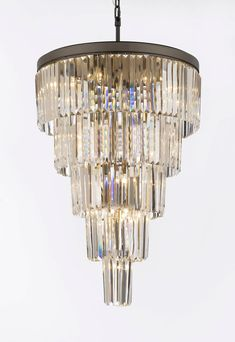 Retro Odeon Crystal Glass Fringe 5 Tier Chandelier - A7-1100/24