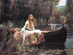 """The Lady of Shalott"" by John William Waterhouse. Willing to risk her life after a glimpse of Lancelot."