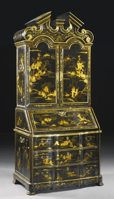 A Chinese Export Black Lacquer and Parcel-Gilt desk-and-bookcase Circa 1745