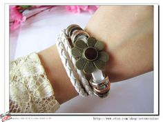 Adjustable Leather Bracelet /Buckle by sevenvsxiao on Etsy, $8.00
