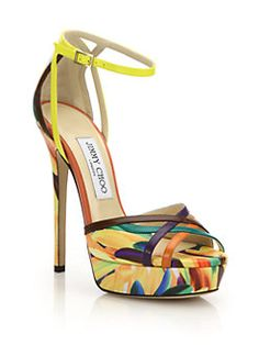 Jimmy Choo - Laurita Feather-Print Leather Platform Sandals