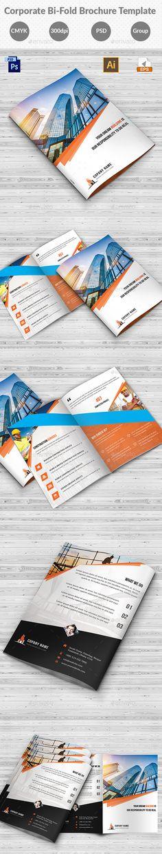 Corporate Business Construction Bi-Fold Brochure Design Template - Corporate Brochures Design Template PSD, Vector EPS, AI Illustrator. Download here: https://graphicriver.net/item/construction-bifold-brochure-template/19257320?ref=yinkira