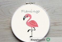 cross stitch pattern flamingo, geometric flamingo, modern cross stitch, nature, bird, PDF,  ** instant download**