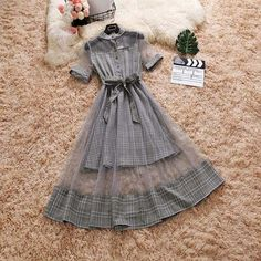 Online Shop dress women robe femme ete 2018 short sleeve plaid grey office lday casual knee length A-line dresses vintage streetwear woman Stylish Dresses For Girls, Cute Dresses, Vintage Dresses, Robes Vintage, Cute Casual Outfits, Pretty Outfits, Stylish Outfits, Girls Fashion Clothes, Indian Fashion Dresses