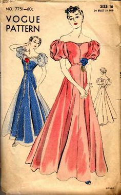 Vogue dress pattern (Style: 7751) from the 1940s.