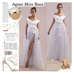 """""""Agnes Mira Rosa"""" by gaby-mil ❤ liked on Polyvore featuring Stuart Weitzman, Bobbi Brown Cosmetics, Santi, Christian Dior, dress and agnesmirarosa"""