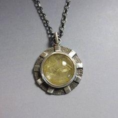 Golden Rutilated Quartz Pendant in Silver Sterling Silver