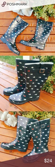 Merona Target Rain boots Features are:  Cute fishy patter  Durable non slip tread with plenty of traction  Adjustable strap Rubber boot Textile lining  Excellent used condition Merona Shoes Winter & Rain Boots