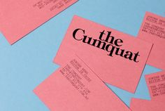 """imnotagraphicdesigner: """" business cards for The Cumquat by Studio Hi Ho """""""