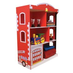 With its bright colors and adorable features, our Kidkraft Wooden Firehouse Bookcase 76026 is the perfect storage accessory for any young boy's bedroom. The Kidkraft Firehouse Bookcase has 6 separate compartments, 1 hidden compartment and cutout windows. Kids Bookcase, Bookcases, Bookcase Bed, Bookcase Storage, Book Shelves, Diy Zimmer, Hidden Compartments, Kids Furniture, Playroom Furniture