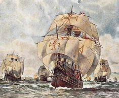 Descobrimento do Brasil - Discovery of Brazil Cabral's task was to establish permanent commercial relations and to introduce Roman Catholicism wherever he we. Portuguese Empire, History Of Portugal, Pirate History, Life Paint, Exploration, Nautical Art, Tug Boats, Armada, Knights Templar