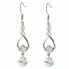 Teardrop Frame with Four White CZ Diamonds Dangle Earrings le Jane. $19.00
