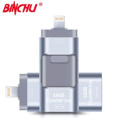 BINCHU USB Flash Drive 8GB 16GB 32GB 64GB For iPhone 7 7 Plus 6 5 5S Lightning to Metal Pen Drive U Disk for iOS10 memory stick