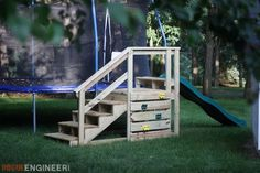 Trampoline Stairs with Slide Trampoline Steps, Trampoline Ladder, Outdoor Trampoline, Best Trampoline, Kids Outdoor Play, Backyard For Kids, Backyard Projects, Outdoor Fun, Diy For Kids