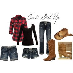 Cow Girl, created by Jacoya on Polyvore - costume - denim - boots - party - outfit - Halloween - teen