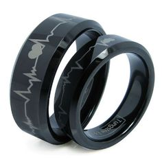 Matching Black Comfort Fit Tungsten Carbide Rings with Laser Forever Love Design (Size 5 His (Size Hers Set Aniversary/engagement/wedding Bands. Please E-mail Sizes - Matching Black Comfort Fit Tungsten Carbide Rings with Las Black Wedding Rings, Black Rings, Engagement Rings For Men, Wedding Engagement, Engagement Jewelry, Wedding Jewelry, Tungsten Carbide Rings, Matching Rings, Matching Set